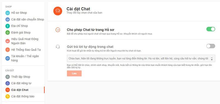 cài đặt chat shopee
