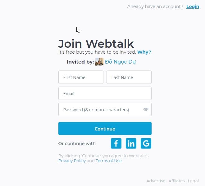 đăng ký webtalk