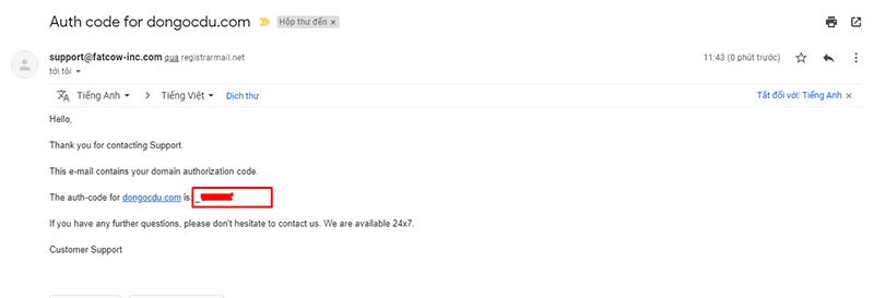 Email thông báo mã auth code tên miền