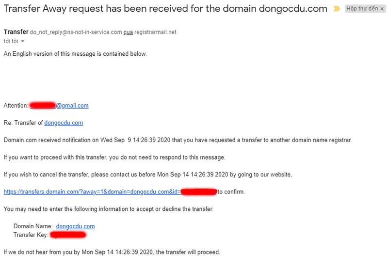 Email thông báo chuyển tên miền của cơ quan quản lý tên miền quốc tế Domain.com
