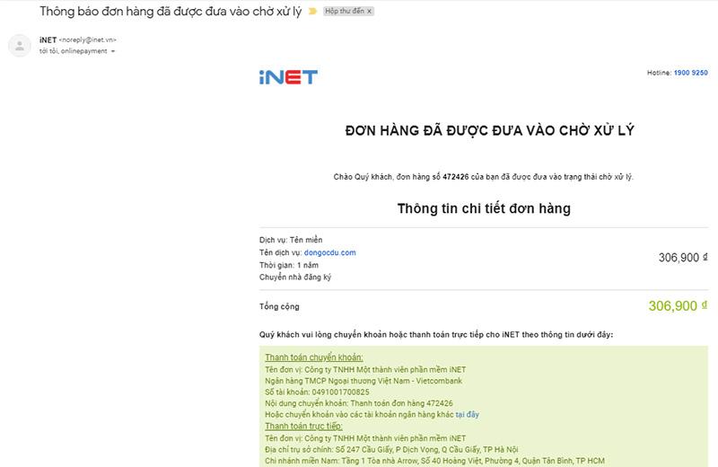 Email thông báo đơn hàng chờ xử lý