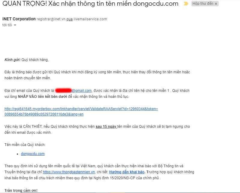 Email xác nhận thông tin tên miền của inet