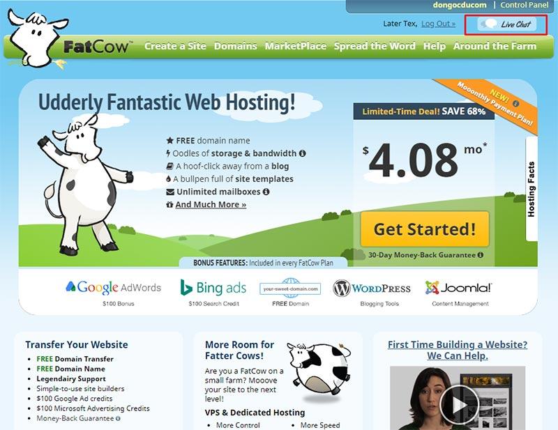 Truy cập domain fatcow.com